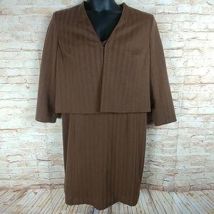 Jones New York Tanw/Black Dressw/jacket SZ 16